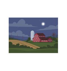 Farmland during night semi flat vector