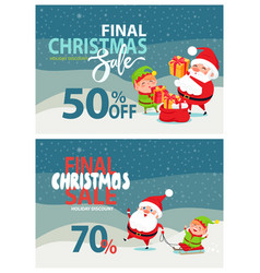 Final christmas sale advertising santa claus elf vector