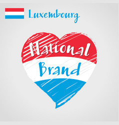 Flag heart luxembourg national brand vector