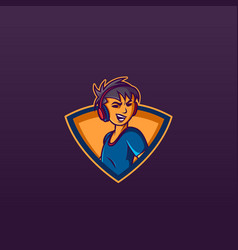 Gamer boy e sports gaming logo design mascot vector