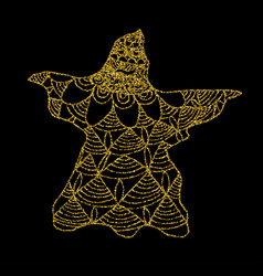 Gold cast of ghost on a black background vector