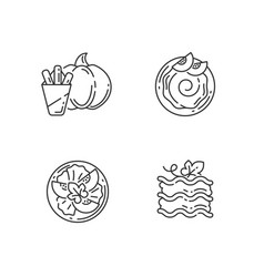 Gourd recipes linear icons set vector