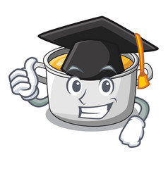 Graduation cartoon chicken soup pot for dinner vector