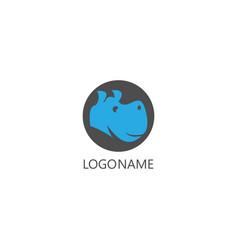 head hippo logo vector image