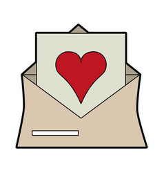 Heart cartoon inside message envelope love icon vector