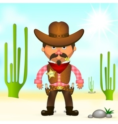 Hot cowboy in the desert vector image