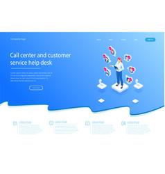 isometric communication support phone operator vector image