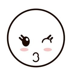 Kawaii happy facial expression emoticon icon vector