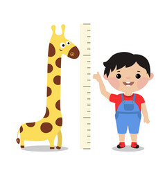 kid measures the growth vector image
