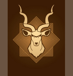 Kudu head oryx big horn animal graphic vector