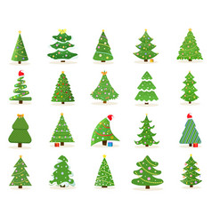 large set decorated green christmas tree icons vector image