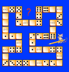 Logic puzzle game for children with dominoes vector