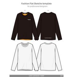 Long sleeve t-shirts fashion flat technical vector