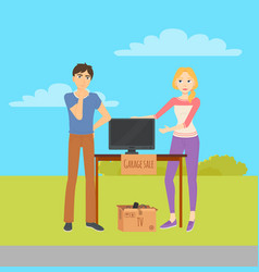 Man and woman selling items at garage sale vector