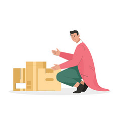 Man holding cardboard box with things young guy vector