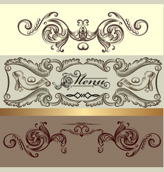 menu design with hand drawn ornament vector image
