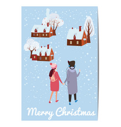 merry christmas and happy new year card template vector image