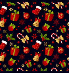 merry christmas seamless pattern decoration for vector image