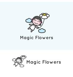 minimalistic young girl cartoon character vector image