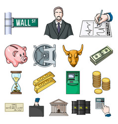 Money and finance cartoon icons in set collection vector