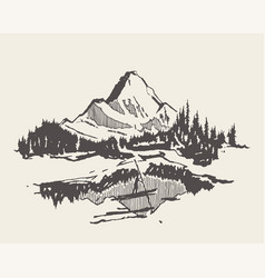 mountain spruce forest lake man boat sketch vector image