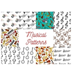 Musical instruments and notes seamless pattern set vector