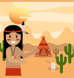 Native american people cartoon vector