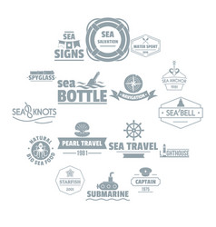 Nautical sea logo icons set simple style vector