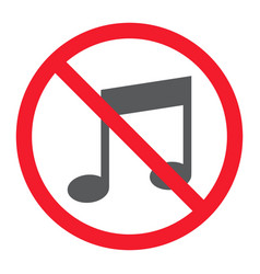 No music glyph icon prohibition and forbidden vector