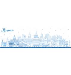 outline havana cuba city skyline with blue vector image