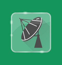 parabolic antenna silhouette icon in flat style on vector image