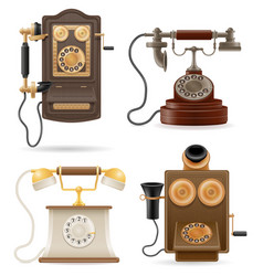 Phone old retro set icons stock vector