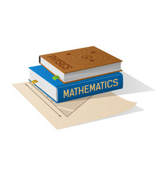 Physics and mathematics books on sheet of paper vector