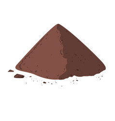 Pile of cocoa powder cacao isolated on white vector