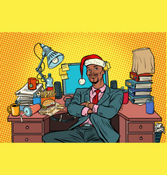 pop art african businessman christmas workplace vector image