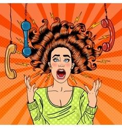 Pop Art Aggressive Furious Screaming Woman vector
