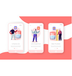 Positive and negative thinking mobile app page vector