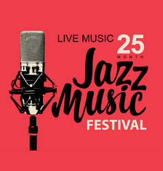 Poster on the theme of jazz music with microphone vector