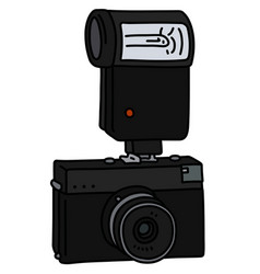Retro photographic camera with a flash light vector