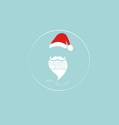santa claus head logo hat beard and mustache vector image