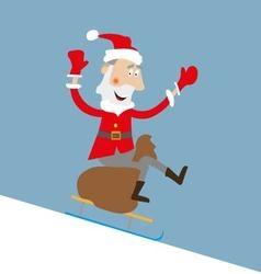 Santa on sleigh with gift bag vector