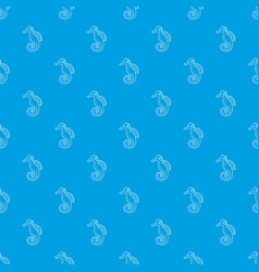 seahorse pattern seamless blue vector image