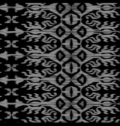 seamless ikat pattern black and grey vector image