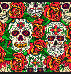 seamless pattern with sugar skulls and roses vector image