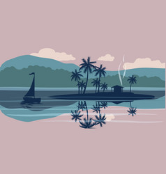 Seascape sailboat palm trees vector