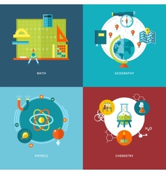 set flat design concepts school subjects icons vector image