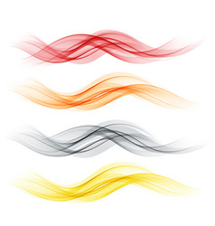 Set of abstract color wave smoke transparent wavy vector
