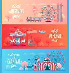 Set of amusement park landscape banners vector