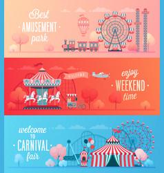 Set of amusement park landscape banners vector