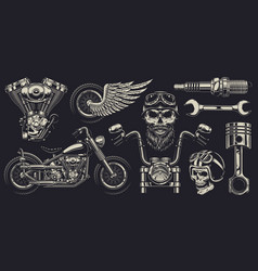 set of custom motorcycle emblems vector image